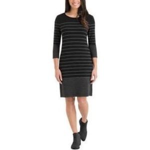 Hilary Radley French Terry Dress Black And Gray